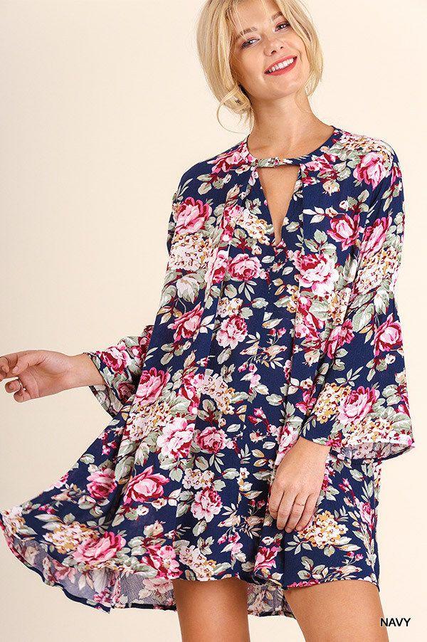 Umgee USA Boho Navy Floral Bell Sleeve Choker Keyhole Swing Dress or Tunic S-L #UmgeeUSA #SwingDress #Casual