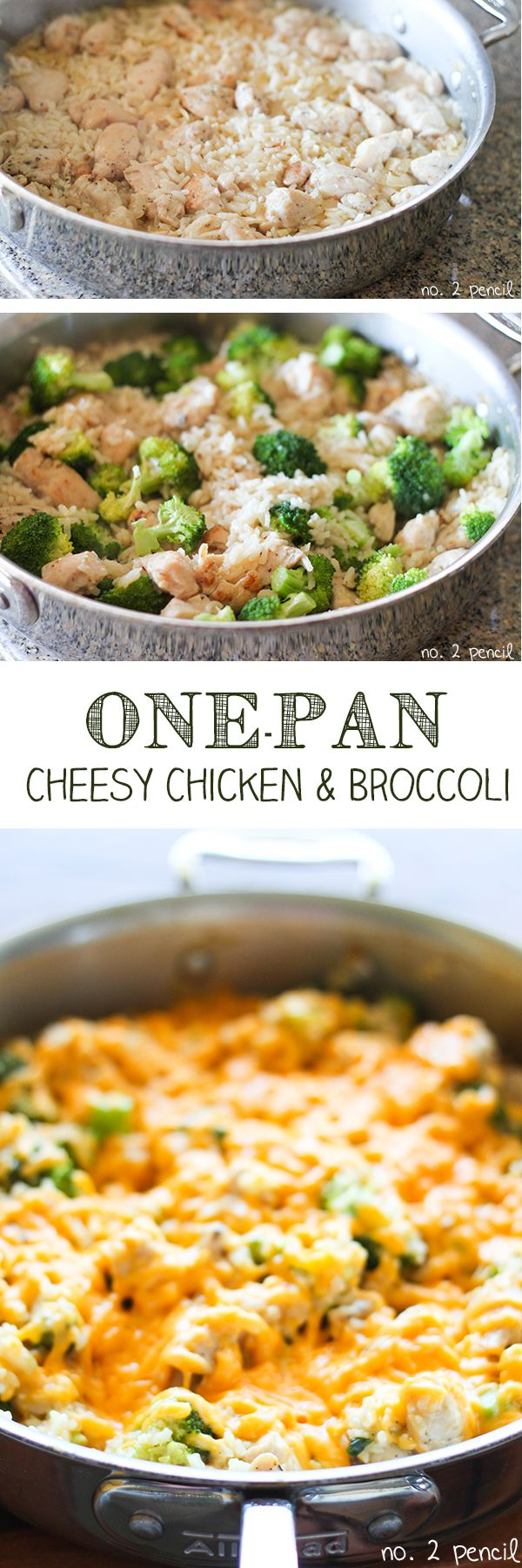 One-Pan Cheesy Chicken and Broccoli - cook everything in the same pan, even the rice!
