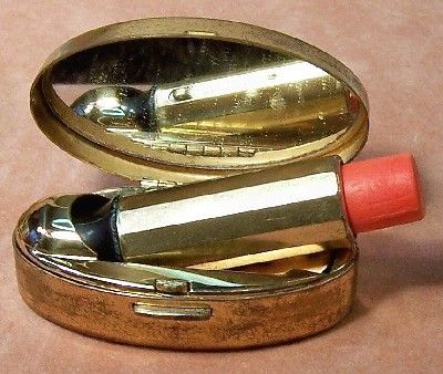 Vintage Max Factor Mother of Pearl Inlay Compact and Lipstick Cases