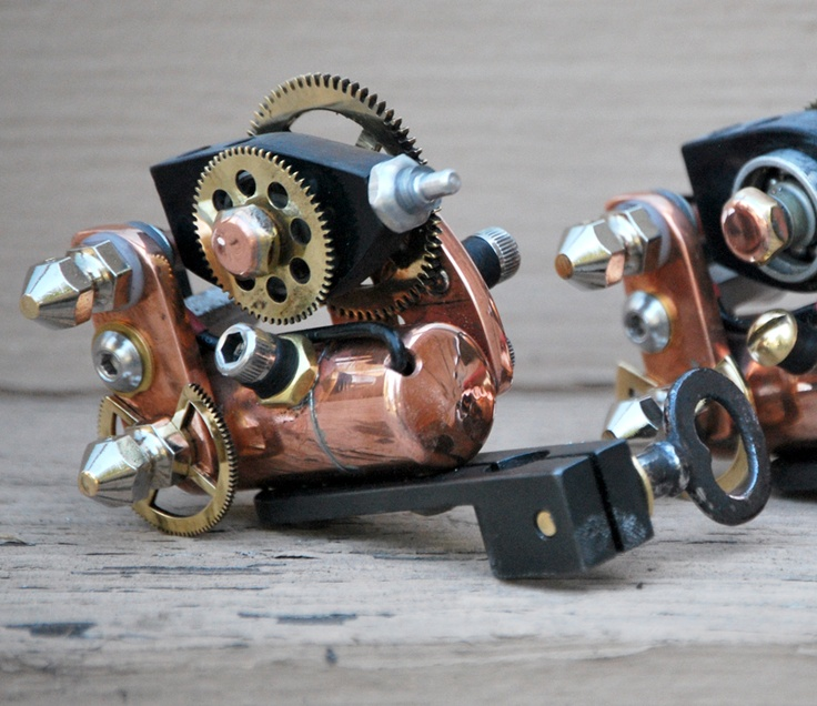 Steampunk Tattoo Machine. Doubt How Well It Works But Would Def Be A Cool Looking Piece To Have Kicking Around