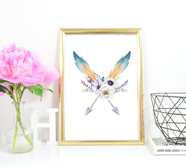 Arrow Print A4 Instant Download Nursery Arrow Printable Art Crossed Arrows Tribal Decor Watercolour Flower Native Decor Pink blue lilac by InkBoutiqueDesign on Etsy