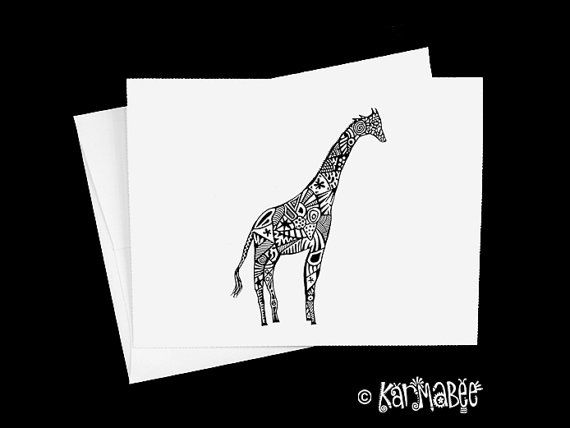 Giraffe Notecards by karmabee on Etsy