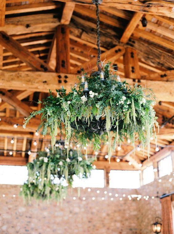 green wedding reception ceiling decor idea via erich mcvey / http://www.himisspuff.com/greenery-wedding-color-ideas/5/