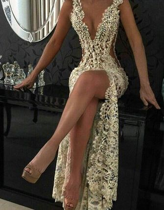 Sexy Lace Evening Gowns Low cut dress,Sleeveless Beading Split Popular Prom Dresses
