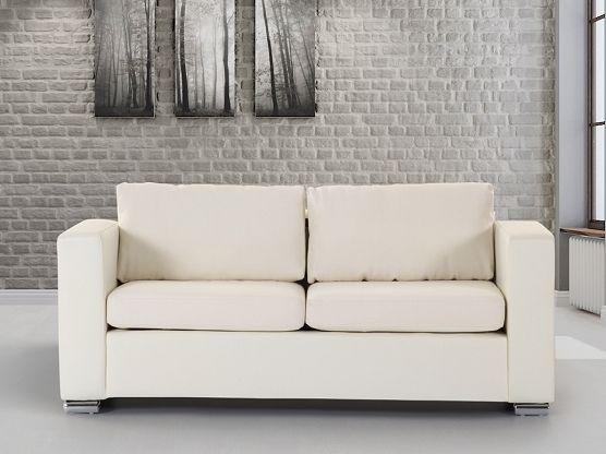 Divano beige - Sofa 3 posti - Divano in pelle - Divano moderno - HELSINKI ✓ Dalla fabbrica a un prezzo conveniente - Diritto di restituzione entro 365 giorni