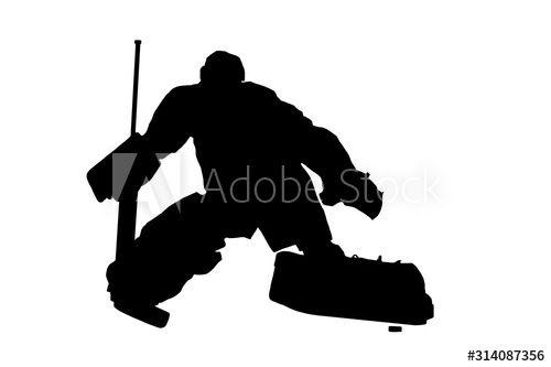 Male Hockey Goalie Blocking Puck With Pad Ad Goalie Hockey Male Pad Puck Ad In 2020 Hockey Goalie Goalie Hockey