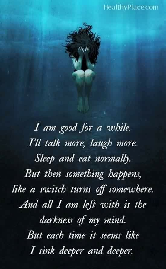 Depression - sinking into the dark water. #MentalHealth #Depression