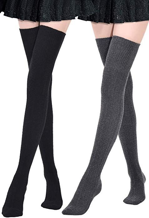 32208c12636b9 Kayhoma Extra Long Cotton Thigh High Socks Over the Knee High Boot Stockings  Cotton Leg Warmers