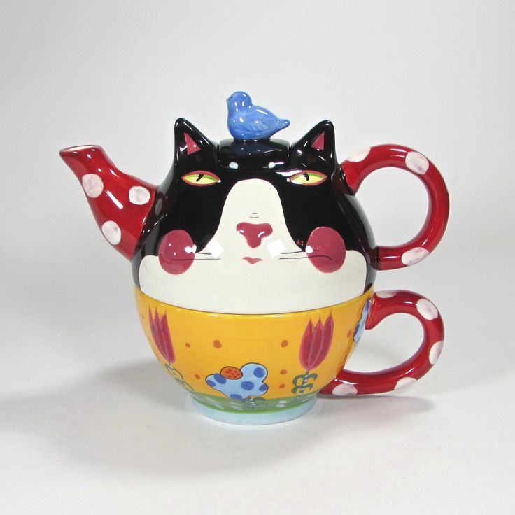 Sharon Bloom Cat Face Teapot Cup Set Blue Bird Red Handle Spout Yellow Cup Flora | eBay