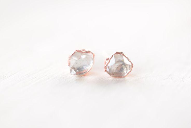 Boucles d'oreilles en diamant Herkimer - diamant Herkimer boucles d'oreilles Boucles d'oreilles - doré brut boucles d'oreilles - Boucles d'oreilles cristal - brut boucles d'oreilles Pierre - Boho