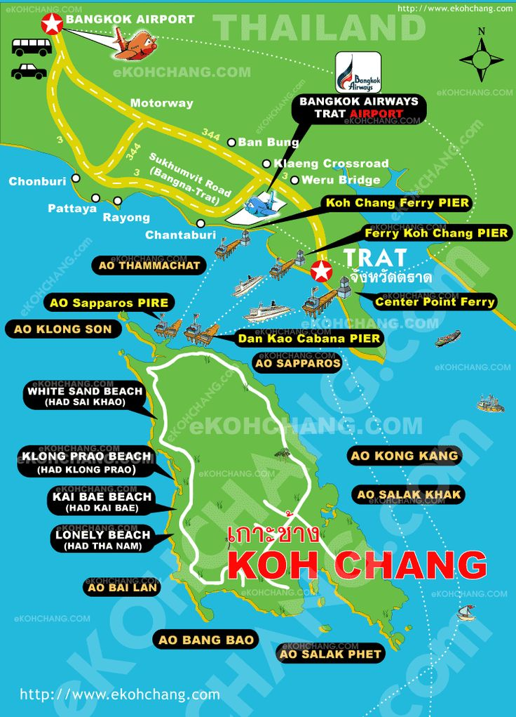 This Koh Chang map clearly shows the various beaches on the island and the ferry routes to Koh Chang, as well as village of Kai Bae, where Sea View Resort & Spa is located. Also shows Koh Chang in relationship to Conburi, Pattaya, Rayong, & Chantaburi.