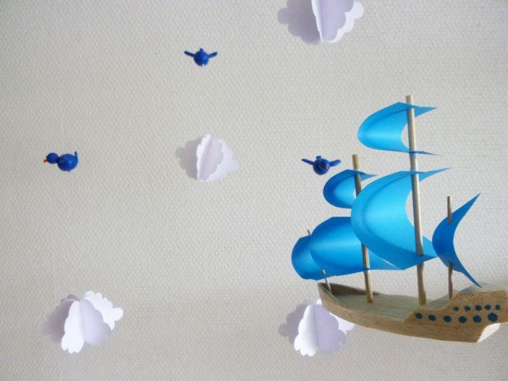 Mobile pour bébé le bateau volant ! : Jeux, peluches, doudous par les-mobidulles