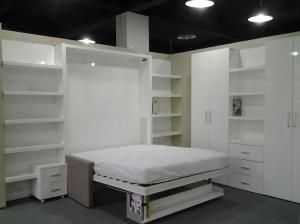 China Smart Furniture Folding Down Wall Bed , Modern Murphy Bed With Sofa supplier