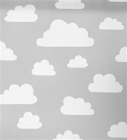 Clouds - Grey - Grey IKEA fabric with white clouds for children