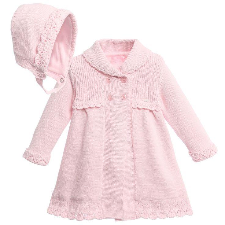 Mayoral Baby Girls Pink Knitted Coat & Bonnet at Childrensalon.com