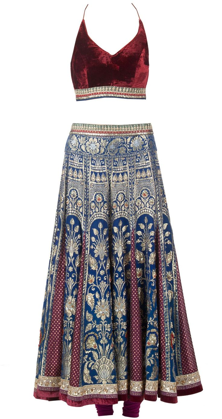 Anju Modi, Blue and wine brocade and silk paneled lehenga