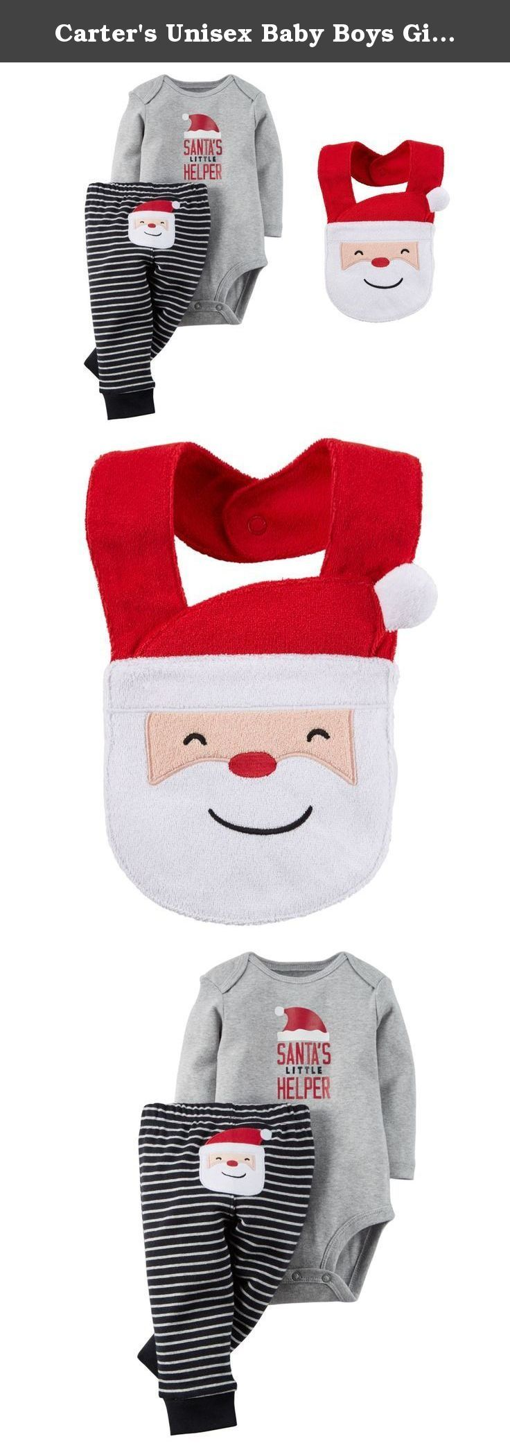 "Carter's Unisex Baby Boys Girls Santa's Little Helper Bodysuit and Pants Set with Bib (6 Months). Your little baby will ready for his first Christmas in this adorably festive ""Santa's Little Helper"" Bodysuit and Pants Set. Keep your little helper clean with the adorable matching Santa bib. 100% cotton and machine washable."