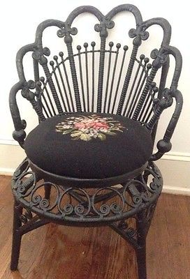 last call rare antique black wicker chair needlepoint seat cover ebay wicker