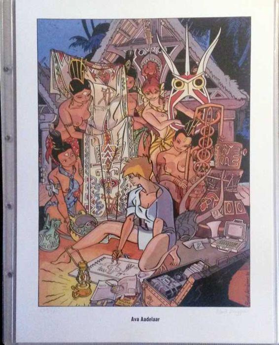 Henk Kuijpers - vier zeefdrukken van Franka - Serie 1 De tegenspeelsters (1990)