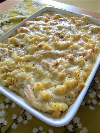 Baked Cheesy Chicken Pasta- add more flavor with garlic maybe onion powder etc