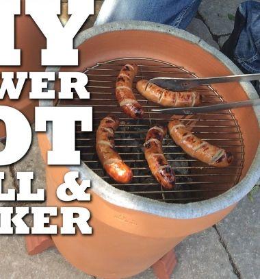 DIY Clay flower pot garden grill & smoker // Kerti grillező egyszerűen házilag agyag virágcserépből // Mindy - craft tutorial collection