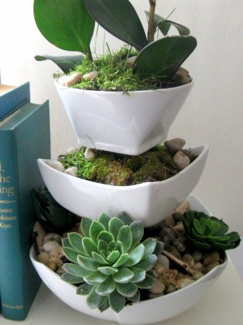 Tiered Succulent Planter  Use epoxy glue to adhere clear glasses in between ceramic dishes of varying sizes, using the largest as a base and the smallest as the top container.