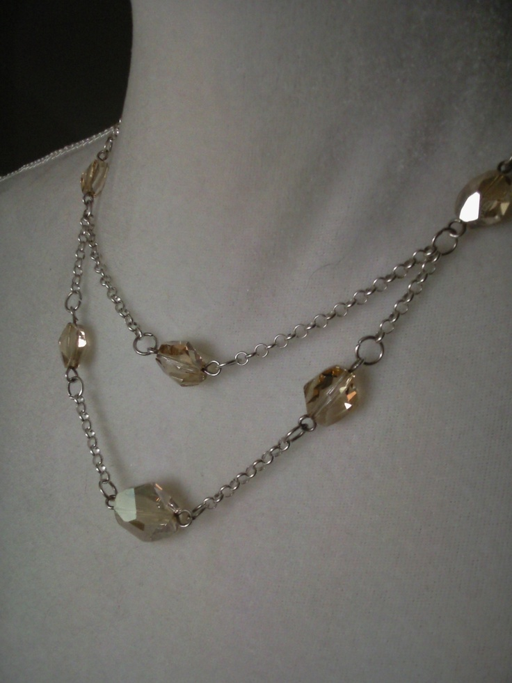 Sterling silver necklace with golden shadow Swarovski Elements