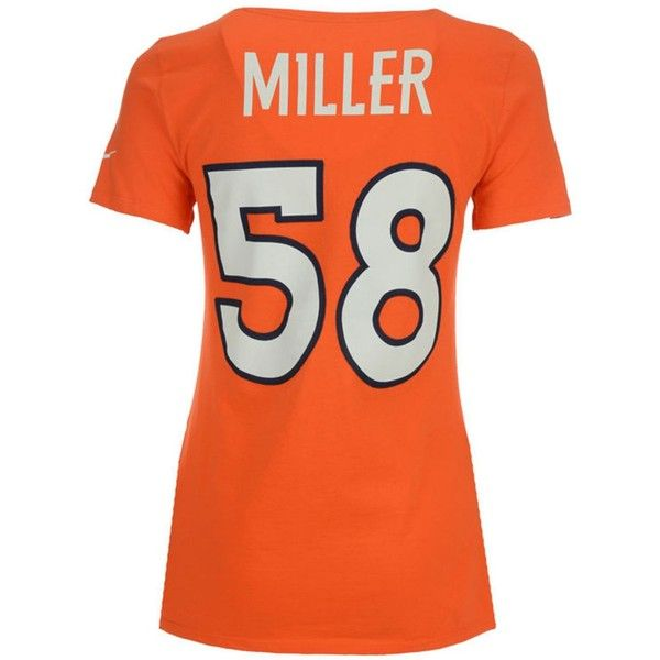 Nike Women's Von Miller Denver Broncos Player Pride T-Shirt ($32) ❤ liked on Polyvore featuring tops, t-shirts, orange, denver broncos t shirts, nfl tees, orange tee, polish t shirts and nike tee