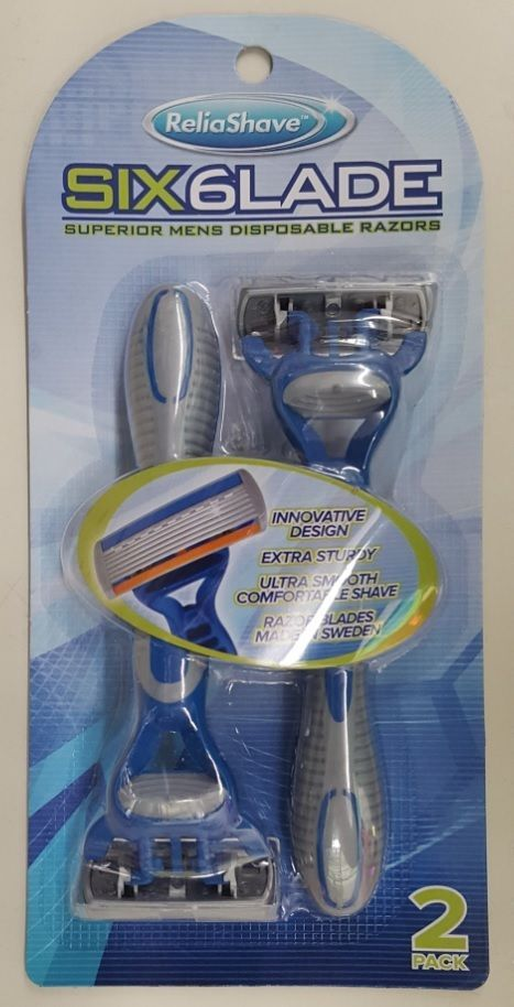 Men's Blue Twin Pack 6 Blade Disposable Pivoting Head Razors by Reliashave #ReliaShave