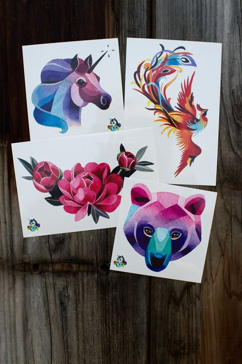 All 4 of Sasha Unisex's watercolor style temporary tattoos in one discounted Artist Pack. You get 1 Bear, 1 Unicorn, 1 Rose Crescent, and 1 Phoenix.
