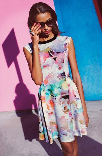 Ted Baker London 'Electric Day' Stretch Skater Dress | Nordstrom