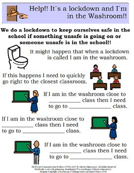 Social stories and scripts that explicitly teach what to do under different circumstances of a lock down or secure school being called. Teacher can fill in the locations the student must go etc. Includes:- lock down being called by some one other then principal- lock down being called when student in the bathroom- lock down being called when student in the gym- lock down being called when student in the library- lock down being called when student just came in from outside- lock down being…