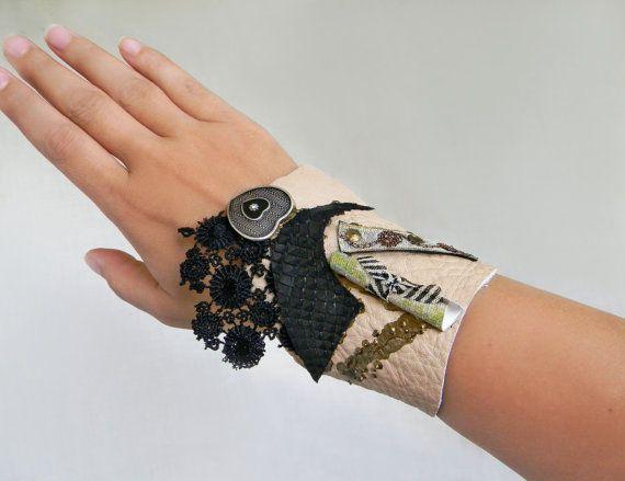 Gothic cuff bracelet Leather wide cuff Steampunk by Elyseeart