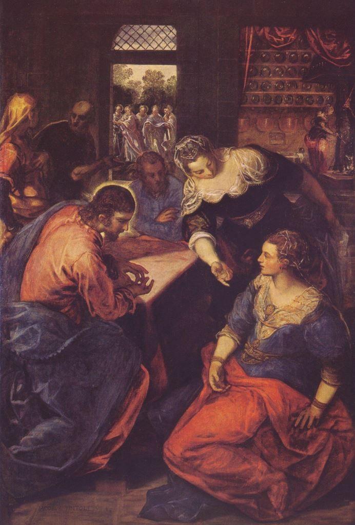 Jacopo Tintoretto.  Christus bei Maria und Martha. 2. Hälfte 16. Jh., Öl auf Leinwand, 197 × 129 cm. München, Alte Pinakothek. Venezianische Schule. Italien. Manierismus.  KO 00913