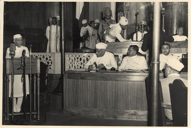 Jawaharlal Nehru and Lord Mountbatten Declare Indian Independence in Constituent Assembly, Delhi 15 August 1947