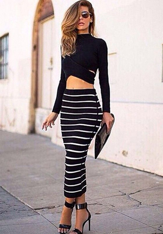 Black White 2-in-1 Crop Top Bodycon Striped Skirt Bandage Club Party Sexy Dress Twinset For Women