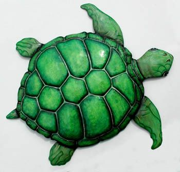 "Green Sea Turtle Wall Hanging - Handcrafted Painted Metal - 20"" x 24""    - See more hand painted metal tropical decor at www.TropicDecor.com"