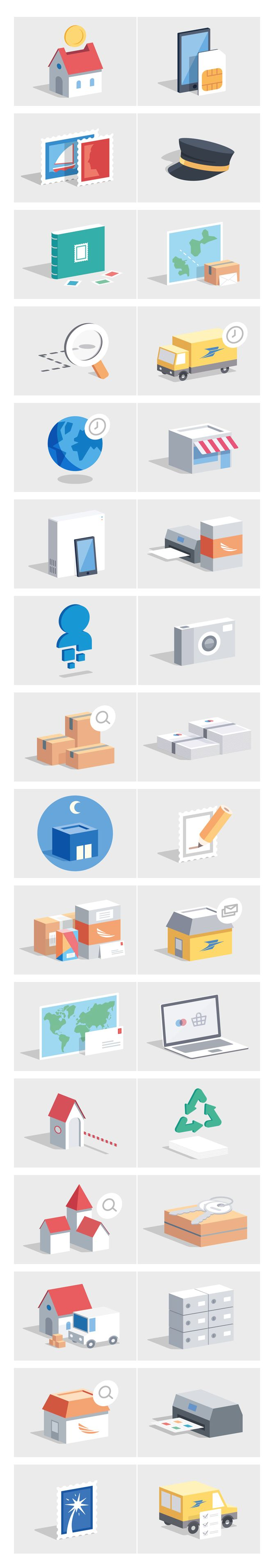 Look at that! Flat icons escaped to a new dimension. https://www.behance.net/gallery/20126697/La-Poste