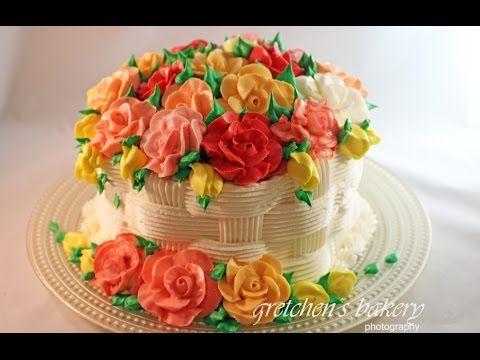 Buttercream Cake Decorating For Beginners : Basketweave Flower Cake for Beginners - YouTube Cake ...