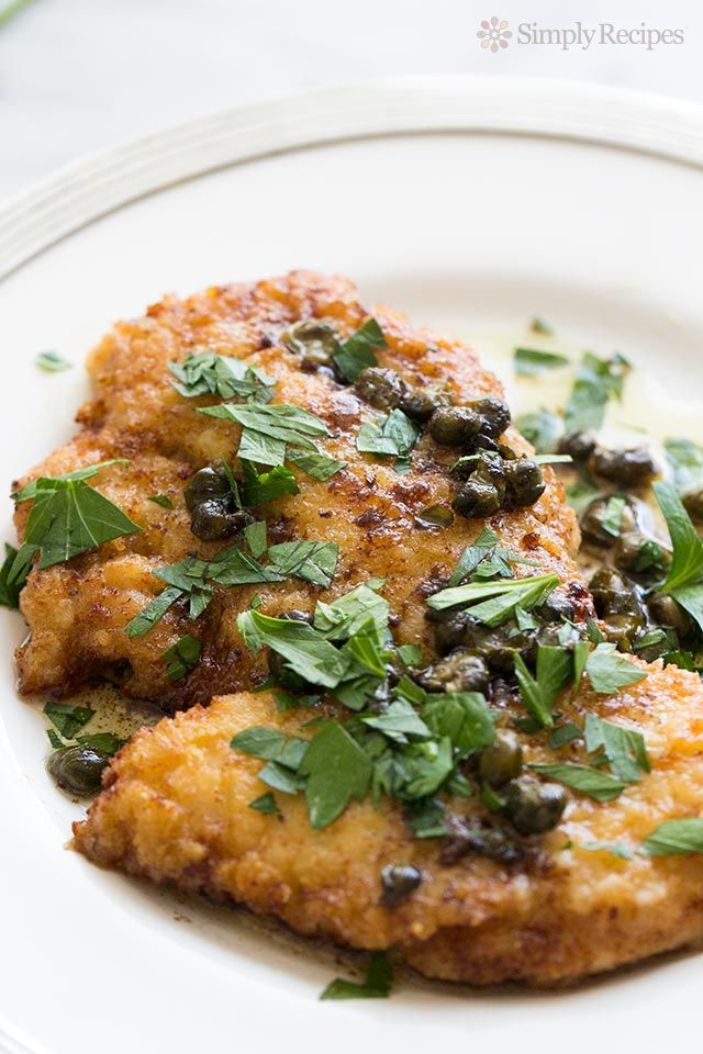 Easy Chicken Piccata by simplyrecipes: Chicken breast cutlets, dredged in flour, browned, served with sauce of butter, lemon juice, capers, and stock or wine. #Chicken_Piccata #Easy