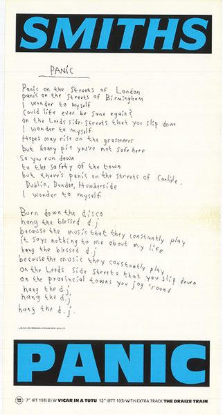 Credit: Warner Music Panic 'B' (July 1986) Version featuring Morrissey's handwritten lyrics