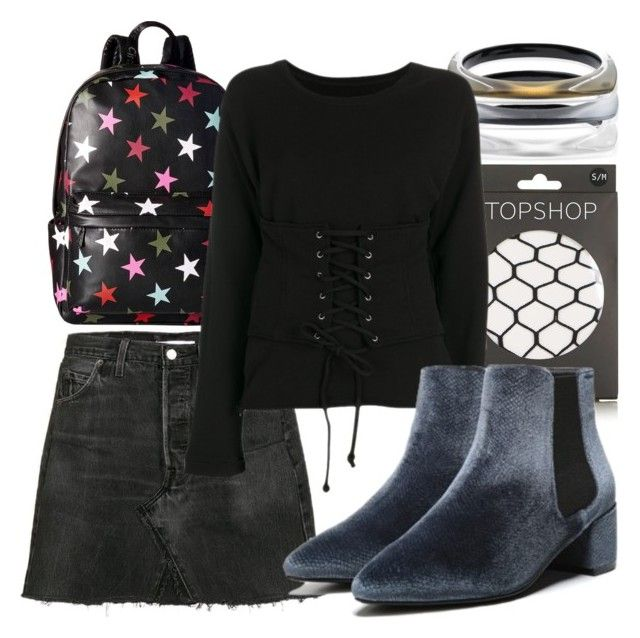 Get it girl... Make your #OOTN feel sultry & streetwise with fishnet tights & Fergie #boots. #velvetboots #itgirlstyle (Fergie Footwear: Blue Velvet SANDY Booties on Polyvore featuring RtA sweatshirt, RE/DONE Levi's skirt, Topshop fishnets, Circus by Sam Edelman backpack and Alexis Bittar bangles)