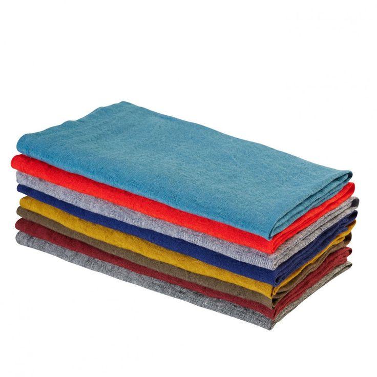 Serviette de table unie en lin lavé Bleu De Chauffe, Serviette