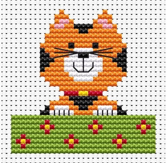 Sew Simple Cat Cross Stitch Kit £8.95 | Past Impressions | Fat Cat Cross Stitch
