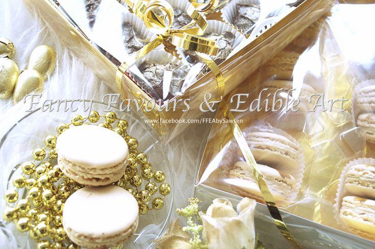 Handmade truffles & Coffee Macaron | Fancy Favours & Edible Art -- #coffee #espresso #handmade #truffles #French #macaron #treat #chocolate #gold #buttercream #cookie #cookies #treats #favours #weddingfavours #wedding #gift #handmade #edibleart