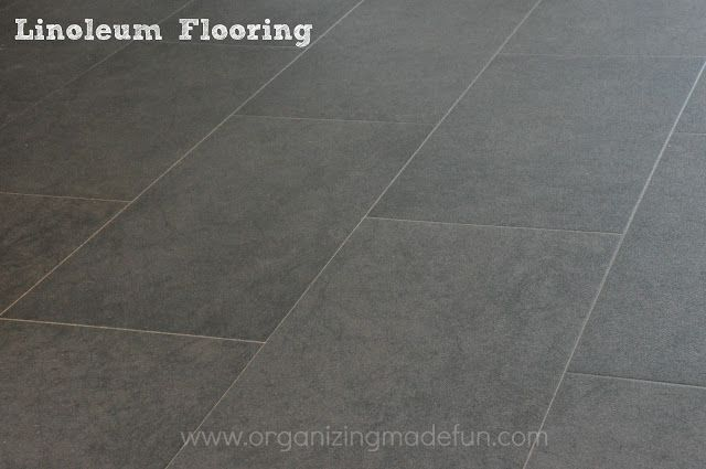 Lisa likes this floor even though it's linoleum! Linoleum Floor up close | OrganizingMadeFun.com