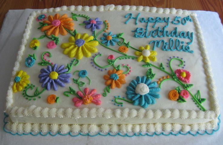 Whimsicle Flowers - Chocolate cake....all buttercream....full sheet.... (sheet cake decorated)