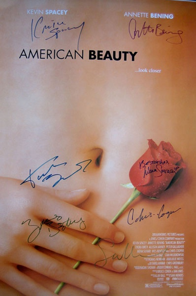 Beauty original 27x40 movie poster cast signed by Kevin Spacey ...