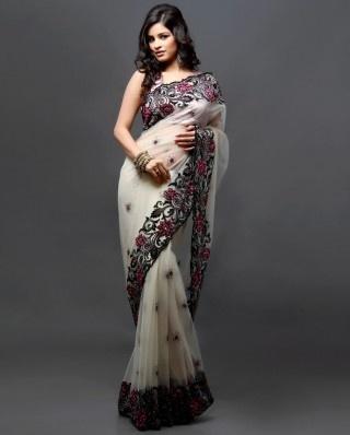 Cream sari with diamante work