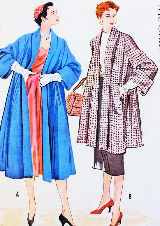 1950s LUXURIOUS Swing Coat Pattern McCall 9668 Gorgeous Full Coat in 2 Lengths Lovely Deep Cuffs Bust 34 Vintage Sewing Pattern
